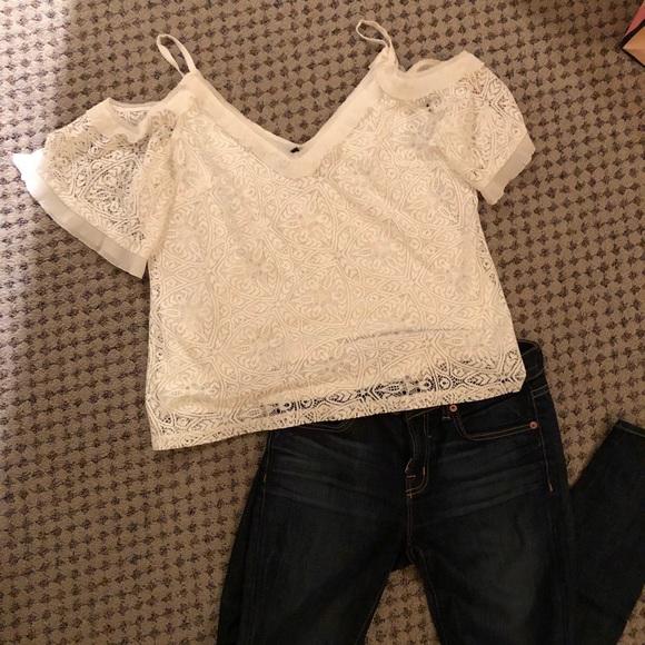 4d8560c2b67cc9 Delicate WHBM Lace Top Shirt off shoulder NWT. NWT. White House Black Market